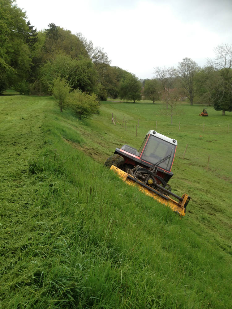 Tractor Mowing a Bank